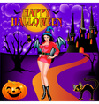 postcard on Halloween girl vector image vector image