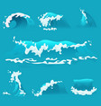 set different cartoon sea or ocean waves vector image