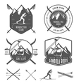 set nordic skiing design elements vector image vector image