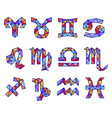 set of polygonal zodiac signs isolated on white vector image