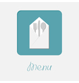 Silver fork knife spoon napkin icon Menu cover vector image vector image