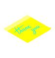thank you handwritten inscription on yellow vector image vector image