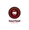 unique soul food kitchen restaurant logo with hot vector image vector image