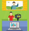 video blog channel banner concept set flat style vector image