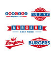 vintage fast food restaurant logo set vector image