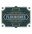 vintage flourishes ornament swirls lines frame vector image