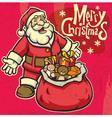 vintage style santa greeting christmas vector image vector image