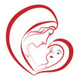 virgin mary and baby jesus drawing vector image vector image
