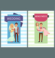 wedding and newlyweds set vector image vector image