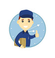 young delivery man in blue uniform vector image vector image