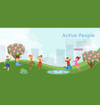 active people in park banner showing dynamic vector image vector image