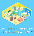 apartment family rooms interior with furniture and vector image