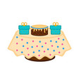 birthday cake on a table with presents vector image