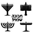 black silhouette set jewish holiday of hanukkah vector image vector image