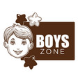 boy zone little kid with smile on face poster vector image vector image