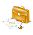 business briefcase with documents and pen vector image