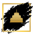 cake with candle sign golden icon at vector image vector image