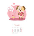 calendar 2018 months february with dog vector image vector image
