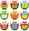 Cartoon owls set vector image vector image