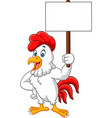 cartoon rooster holding blank sign vector image