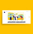 characters watching fishes swimming in aquariums vector image