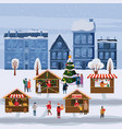 christmas market or holiday outdoor fair on town vector image vector image