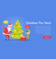 christmas tree decor web banner vector image vector image