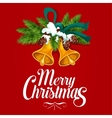 Christmas tree with bell and ribbon greeting card vector image