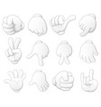 collection of cartoon hands vector image