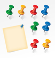Colorful pins set with paper note vector image vector image
