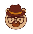 cute bear forest animal with hat and glasses vector image