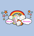 cute carttoon style mama unicorn with doghter vector image vector image