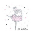 cute little dancing ballerina simple linear vector image