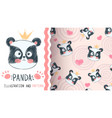 cute panda - seamless pattern vector image