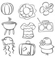 doodle of summer element collection vector image