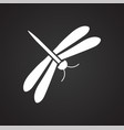 dragonfly icon on black background for graphic and vector image