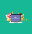 eps earning per share stock business with laptop vector image