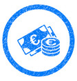 euro cash rounded icon rubber stamp vector image vector image
