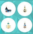 flat icon christian set of religious church vector image vector image