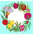 floral colorful round frame card template vector image