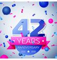 Forty two years anniversary celebration on grey vector image vector image