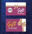 gift voucher card with ribbon beige vector image vector image