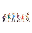group people happily dancing vector image