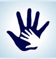 hand in hand in white and blue as concept of vector image vector image