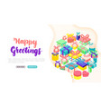 happy greetings present banner concept vector image