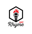 hot rhyme logo with microphone on fire vector image vector image