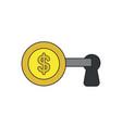 icon concept dollar key into keyhole vector image vector image