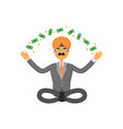 indian businessman meditation in lotus pose vector image