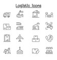 logistic delivery service icon set in thin line vector image
