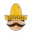 mexican man face with hat and mustache portrait vector image vector image